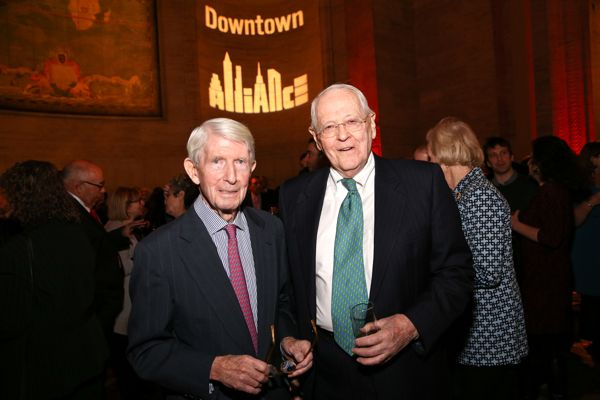 Robert Douglass (left), longtime chairman of the Downtown Alliance, and Charles Urstadt (right), former president and chairman of the Battery Park City Authority, at a January dinner honoring the twentieth anniversary of the Alliance, where Mr. Urstadt proposed naming the planned West Thames Bridge in honor of Mr. Douglass.