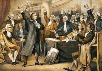 "1775 Patrick Henry proclaims, ""give me liberty or give me death"" in speech in favour of Virginian troops joining Revolutionary war"