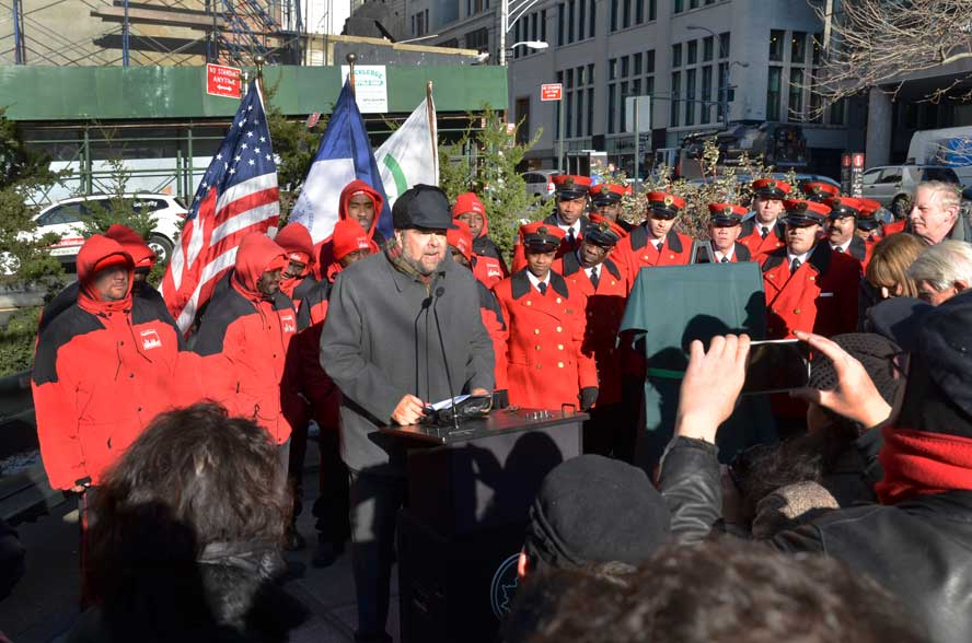 Bill Bernstein addressing the crowd in December 2013 at the dedication of Elizabeth Berger Plaza