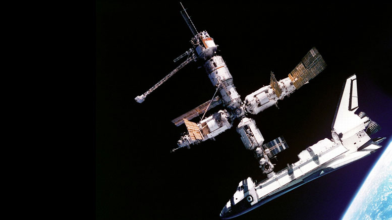 STS-71 Mission (Atlantis) docks with the Russian space station Mir for the first time.