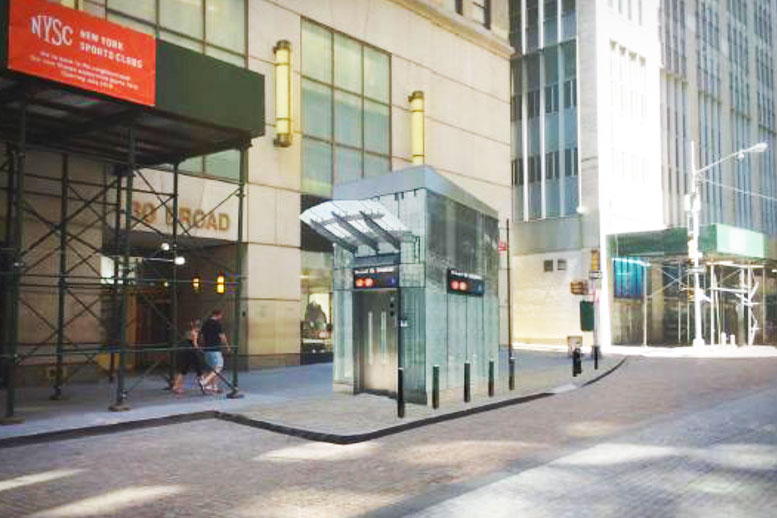 An architect's rendering of the subway elevator cube proposed for the east side of Broad Street, at Exchange Place. This structure, and its twin, located across the street, will be approximately 100 square feet.