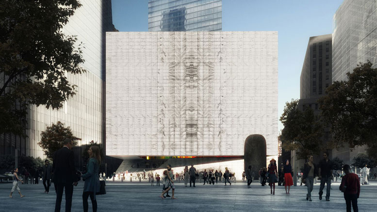 The design by architectural firm REX calls for the cube-shaped Performing Arts Center to be clad in translucent white marble, that will allow natural light to filter through the walls of the windowless building (shown here looking north, with One World Trade Center on the left, and Seven World Trade Center in the center background).