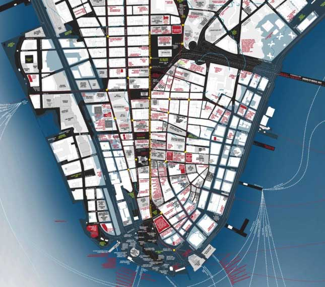The contemporary side of the map illustrates Lower Manhattan in the 20th and 21st centuries, will a sobering view of the not-too-distant future, when a projected sea-level rise of almost three feet will put large areas of the community underwater.