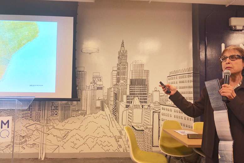 CultureNow president Abby Suckle presents the organization's new mash-up map of Lower Manhattan's history to Community Board 1 in September.