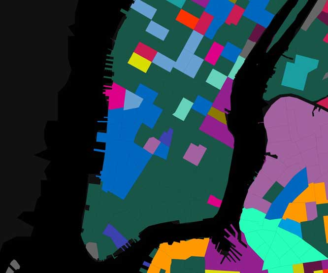 """An interactive map of Lower Manhattan showing the third-most common local language in each Census Tract_ with green signifying Chinese_ light blue representing French, and dark blue denoting """"other Indo-European languages."""""""