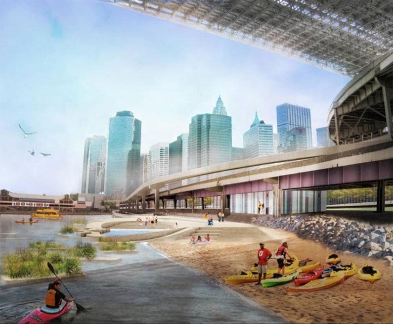 An architect's rendering of the proposed public access for swimmers and human-powered boats at Brooklyn Bridge Beach.