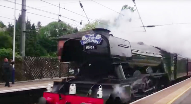 The mighty Flying Scotsman flying through Radlett station at approximately 7:56am on 4th June 2016 on its way to York.
