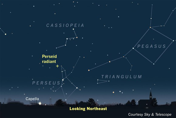 Bright stars and mythic relationships connect Perseus, Pegasus and Cassiopeia. Look overhead from about 6:30 - 8 p.m. and toward the northwest later at night during the time frame of this post.    (Image drawn for location of constellations in August.)  Courtesy EarthSky.org