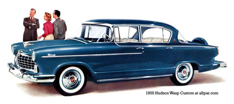 1955 Hudson Wasp.  Hudson's peak was in 1929, when the company produced no less than 300,000 Hudson and Essex cars worldwide