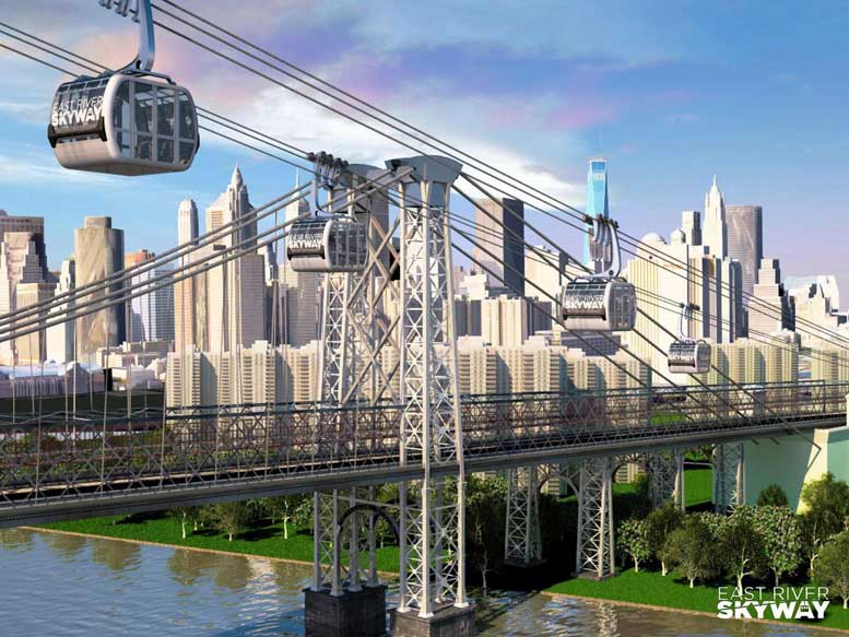 An artist's rendering of the first phase of the East River Skyway proposal, which could whisk commuters from Williamsburg to the Lower East Side in as little as five minutes.
