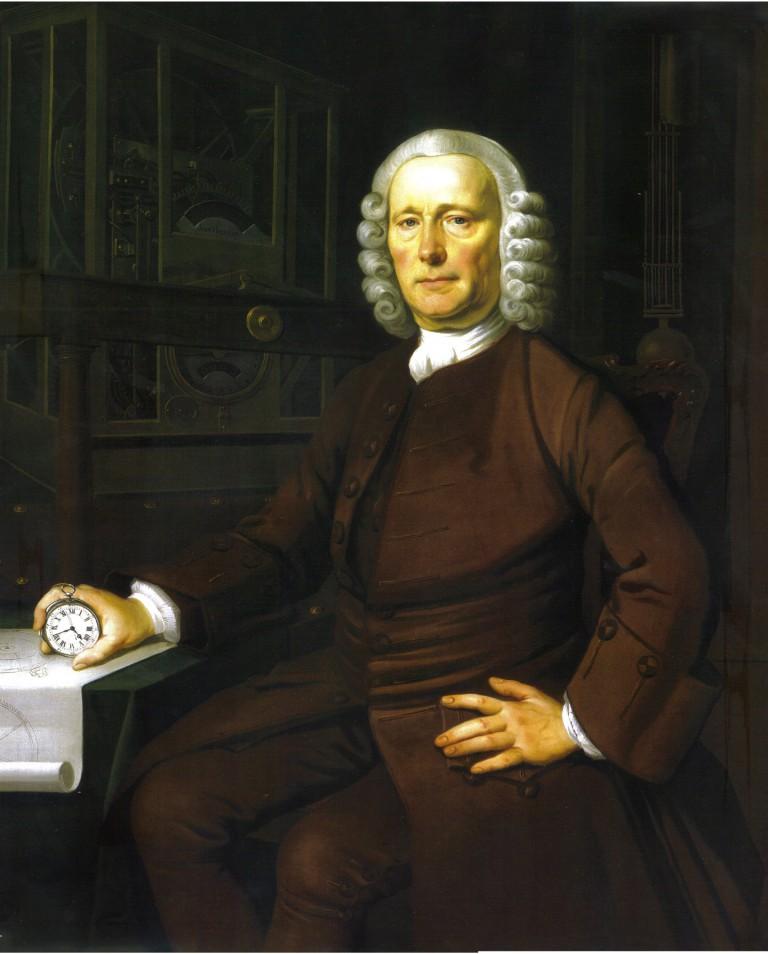 John Harrison with H-4 his Chronometer