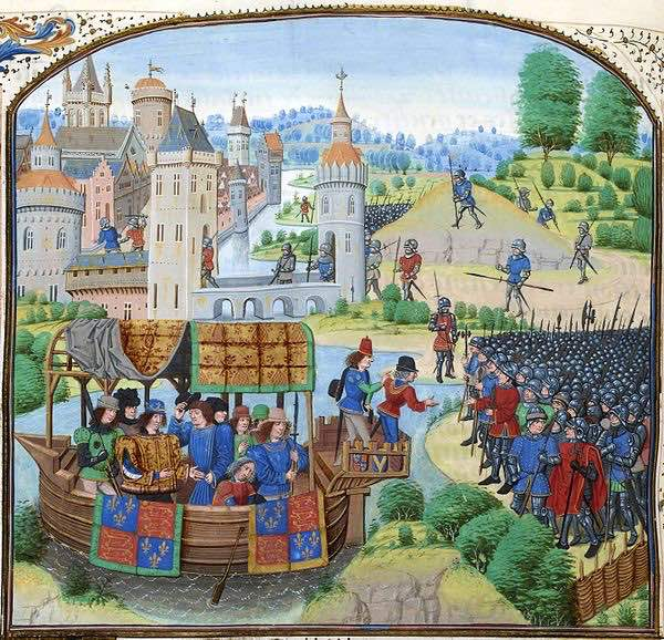 Jean Froissart's Chronicles depicts King Richard II meeting the rebels from the Peasants' Revolt in 1381.