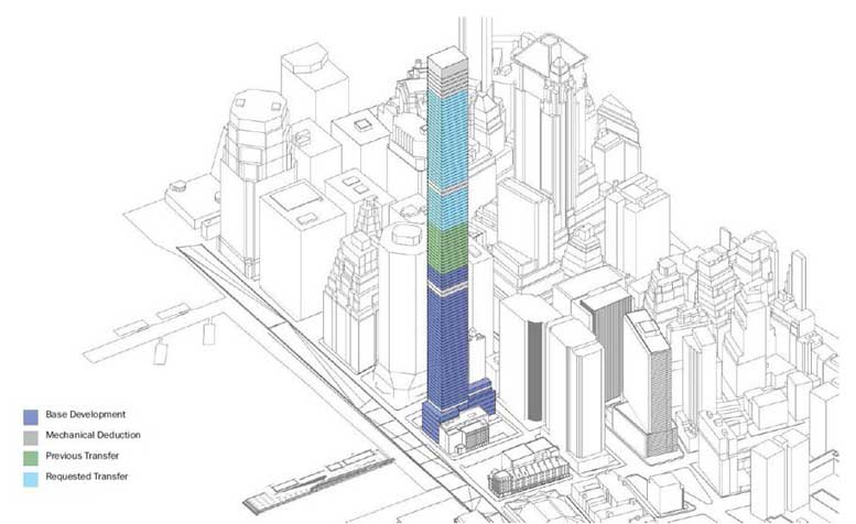 A 2016 rendering illustrates the scale of the proposed tower, which will be more than double the height of any surrounding structure, and will top out at more than 1,400 feet - higher than One World Trade Center.