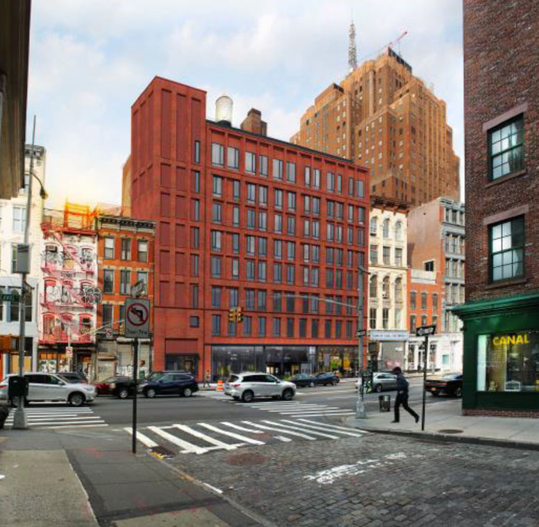 A rendering of the proposal by developer Trans World Equities to build a nine-story apartment building on Canal Street, between Church Street and Broadway.