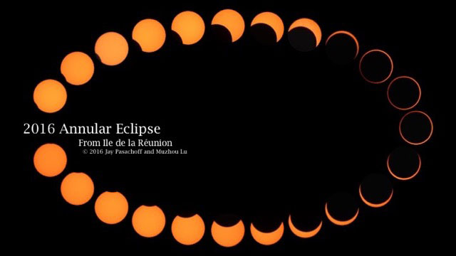 Count to the 7th shape for approximate 70_ partial eclipse crescent and stop there.Then, loop to the same crescent on the opposite side and follow it back to full sun. Image courtesy of Jay M. Pasachoff