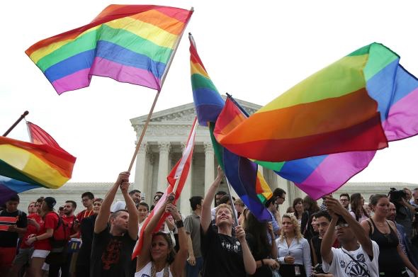 Supporters of same-sex marriage celebrate outside the courthouse in 2015 after the Supreme Court rules that same-sex couples have a constitutional right to marriage.