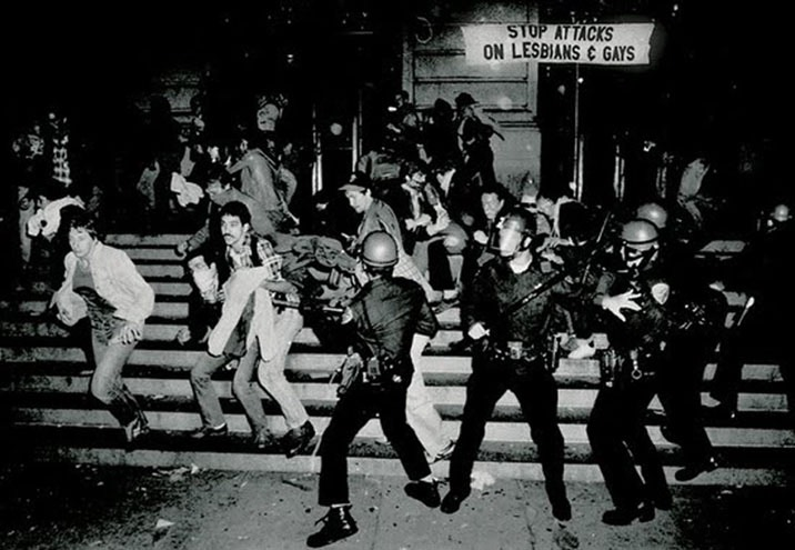 The Stonewall Riots of 1969, a series of spontaneous, violent demonstrations by members of the LGBT community against a police raid that took place in the morning of June 28, 1969, at the Stonewall Inn, in Greenwich Village.