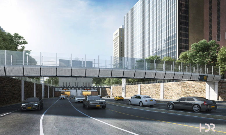A rendering by HDR Architects, designers of the new span slated to replace the Morris Street pedestrian bridge,of the sleek viaduct that will soon begin construction over the plaza of the Brooklyn-Battery Tunnel.