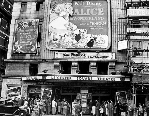 Disney's Alice in Wonderland premiere at Leicester Square Theatre, 1951.