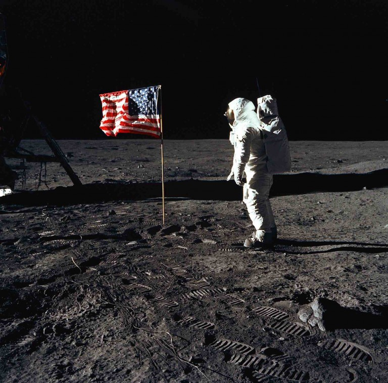 Stepping off the lunar landing module Eagle, astronaut Neil Armstrong became the first human to walk on the surface of the moon.
