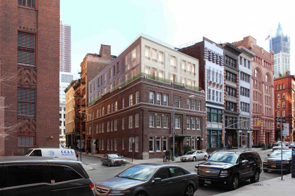 An architect's rendering of the glass-enclosed complex of penthouse apartments that has been proposed for 50 Hudson Street, in the midst of the Tribeca West Historic District.