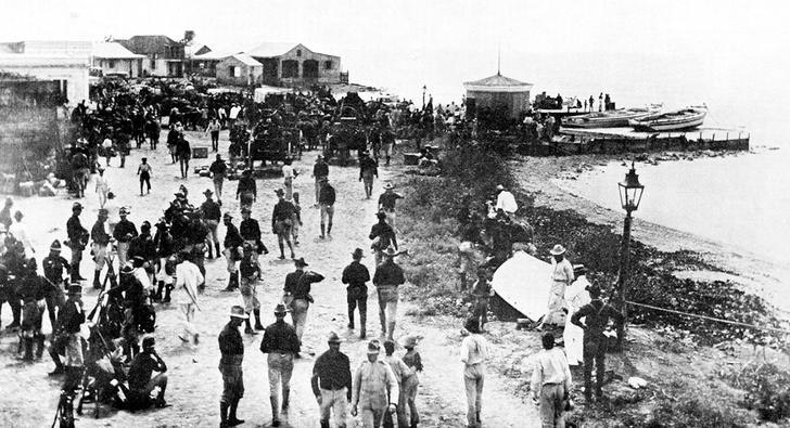 On July 25 1898, a detachment of American marines and sailors waded ashore Puerto Rico and secured the town of Guánica and raised the American flag over its customs house. With this, the U.S. effectively took control of Puerto Rico.