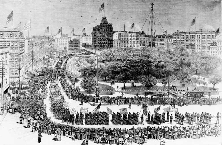 The country's first Labor Day parade in New York City on Sept. 5, 1882. This sketch appeared in Frank Leslie's Illustrated Newspaper.