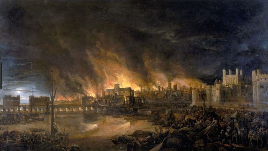 The Great Fire of London swept through London for four days  in September 1666