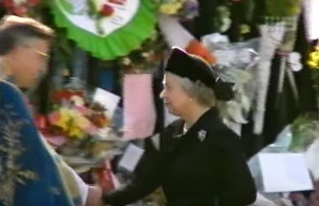 Queen Elizabeth arriving at Diana's funeral.