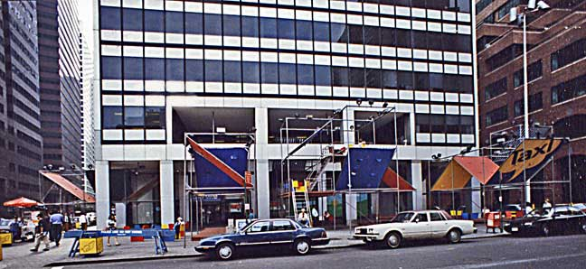 The public space at 200 Water Street as it appeared in the 1980s, with billowing canopies, fountains and other artistic elements designed to enhance the public's enjoyment of the outdoor plaza and arcade spaces. In exchange for these amenities, the builder was allowed to construct a taller, bulkier (and thus more valuable) tower than otherwise would have been legally permissible.