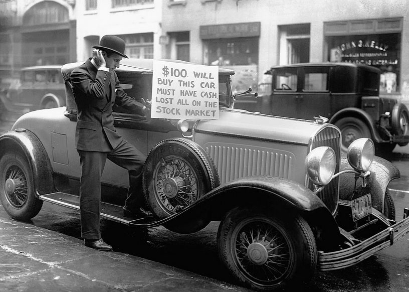 """Wall Street Crash of 1929  """" $100 Will Buy This Car"""""""