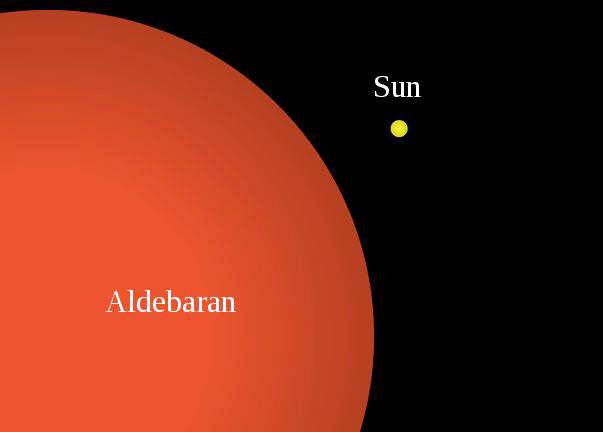 Compare the size of Aldebaran with our sun. (wikipedia)