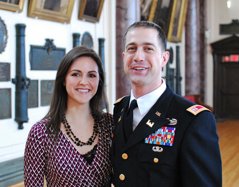Major Morrow and his wife, Michelle (who also served as an officer in the U.S. Army, with four years of active duty, and 18 months in the Army Reserve) in the Cullum Hall Ballroom at West Point, where he was on the faculty from 2013 through earlier this year.