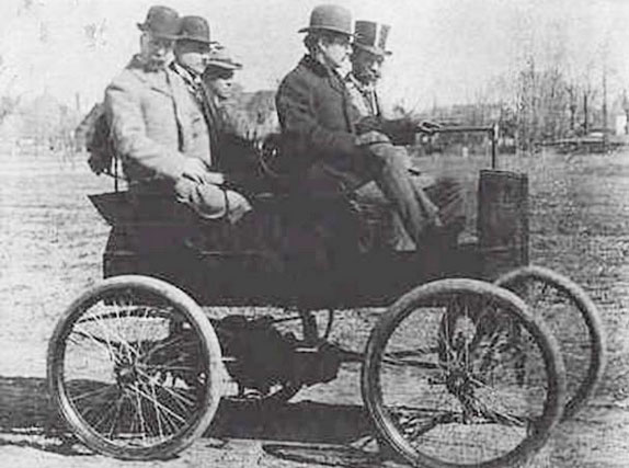 """On this date in 1889, the president of the New York Parks Department issued the first permit to Curtis P. Brady """"to enter upon and pass over the drives of Central Park with his electric automobile runabout."""" The permit required Brady to """"exercise the greatest care"""" to avoid scaring horses and other users of the park."""
