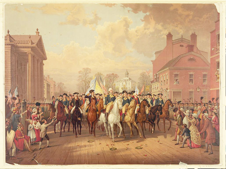 General George Washington and Governor George Clinton (symbols of military and civilian authority) pass St. Paul's chapel, which miraculously survived the fire of 1776 that destroyed Trinity Church and many buildings west of Broadway. The general would return to worship here as president six years later.