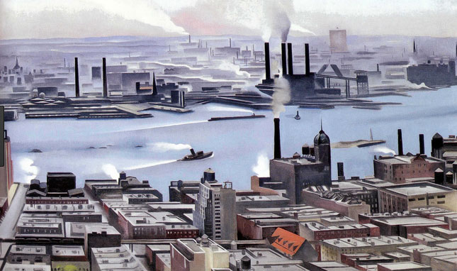 A painting of New York City's urban landscape by Georgia O'Keeffe before she moved to the SouthWest