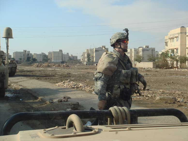 Lower Manhattan resident and career U.S. Army officer Major Jack Morrow, shown here as a First Lieutenant on patrol in Ar Ramadi, Iraq.