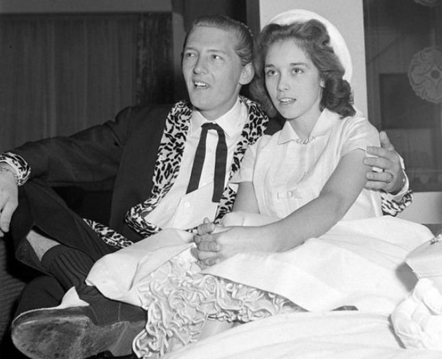 Jerry Lee Lewis weds his cousin Myra Gale Brown, 13, while still married to his first wife Jane Mitchamr.