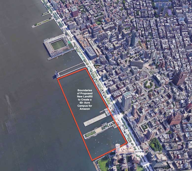 The Hudson River waterfront in Tribeca, where the red outlines show the area proposed for new landfill, to extend Battery Park City northward and create a 60-acre campus for a possible Amazon headquarters in Lower Manhattan. Such a plan could, the author argues, provide financing for both the Hudson River Park and resiliency measures throughout Lower Manhattan.