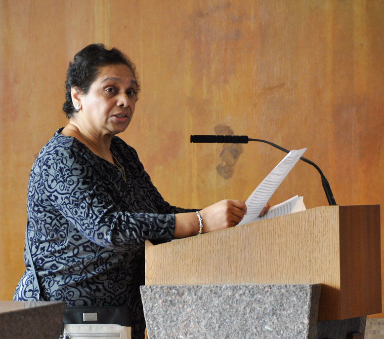 Philomena Pinto welcomed the congregants on this day of the last service in Battery Park City