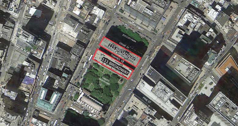 The location of the proposed new pedestrian and retail plaza.