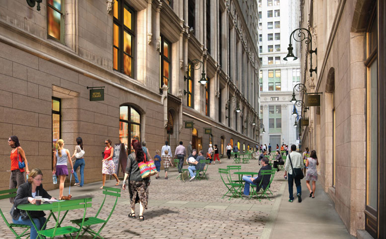 An architectural rendering of the plan to close Thames Street and convert it into a shopping arcade.