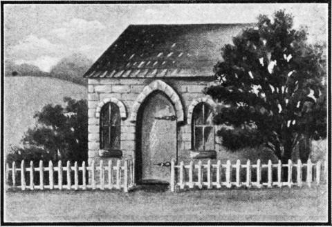 An engraving of the original Mill Street Synagogue, which opened in Lower Manhattan (on what is now South William Street) in 1730.