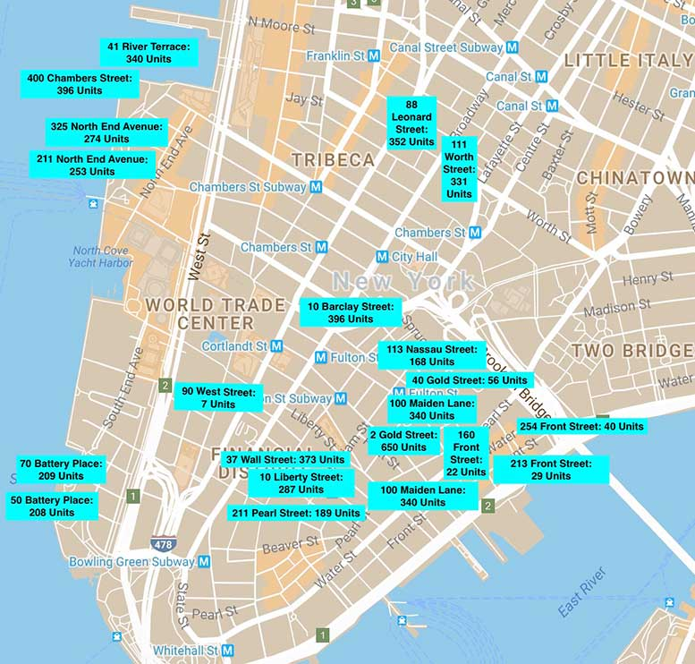 This map shows the locations of 21 buildings in Lower Manhattan that contain a total of 5,213 rent-stabilized apartments, as documented by research from CB1's Housing Subcommittee.