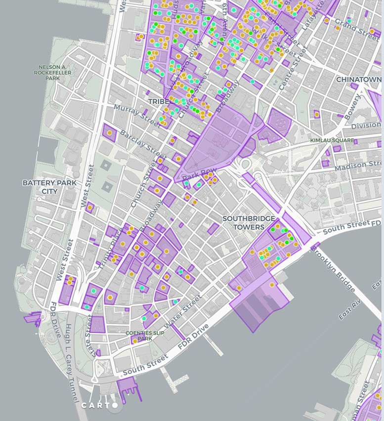 A map compiled by the Municipal Art Society shows more than 100 sites in Lower Manhattan where owners or developers have sought permissions to alter legally protected landmarks.