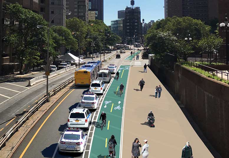 A City Department of Transportation rendering of the new bike and pedestrian lanes on Park Row, which are now open.