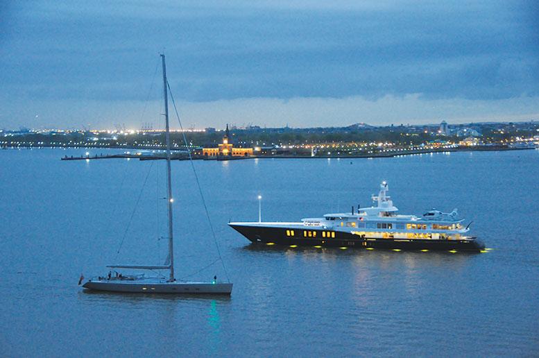 Sailboat GHOST passes Yacht AIR in New York Harbor