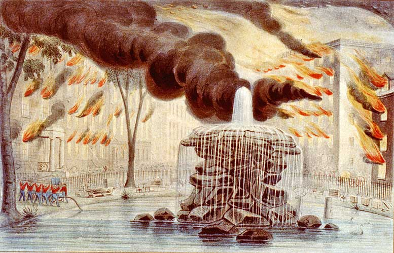 The Great New York City Fire of 1845 was the last of three particularly devastating fires that affected the heart of Manhattan, the other two occurring in 1776 and 1835.