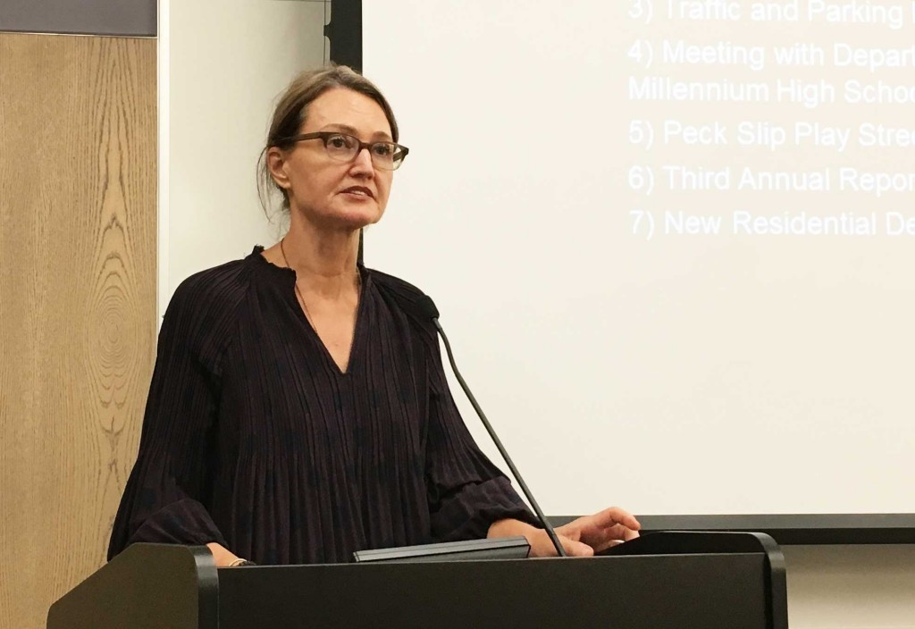"""Tricia Joyce, chair of Community Board 1's Youth & Education Committee: """"Millennium High School is the gem of our community. It is a perfectly diverse school, but also a very crowded school."""""""