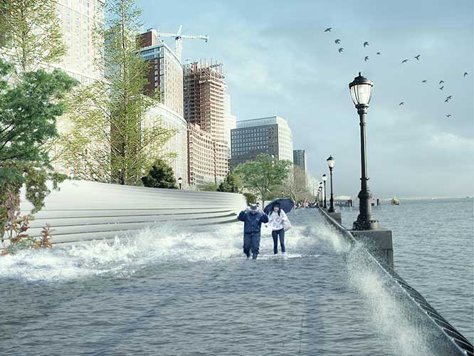 This preliminary rendering (now outdated) shows one early version of a plan for creating flood barriers along Battery Park City's Esplanade.